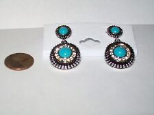 Genuine Turquoise, Designer Two-Tone Earrings