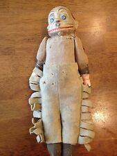 RARE! Antique Toy Monkey MAN? Jointed  FELT WOOL CHAPS CLAY 11 1/2""