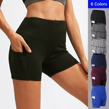 Women Pocket Running Shorts Outdoor Quick Dry Fitness Yoga Pants Activewear 2049