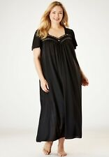 ONLY NECESSITIES Black Nylon Tricot FULL SWEEP Long Nightgown 2X 26W - 28W NEW ~