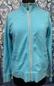 FRESH PRODUCE Size M Medium Light Blue Starfish Zip Front Jacket EUC