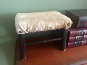Western Style Fur Cowhide Hair Wood Mini Footstool Bench Seat Kid Cave Rustic