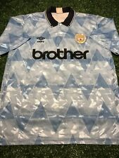 VINTAGE MANCHESTER CITY FOOTBALL HOME SHIRT 1989 1990 1991 Size L 89 90 91 Oasis