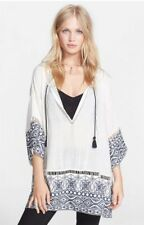 NWT Free People Noyal Counting Stars Embroidered Tunic Top Shirt Ivory XS S