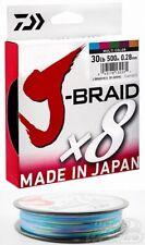 Daiwa J Braid X8strand Multi Coloured 30lb (500m Spool) Braided Fishing Line
