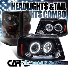 Glossy Black 04-08 F-150 Halo LED Projector Headlights+Smoke Rear Tail Lamps