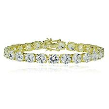 Gold Tone over Sterling Silver 7mm Round Cubic  Zirconia Tennis Bracelet