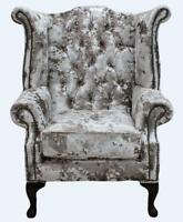 Chesterfield Armchair Queen Anne High Back Wing Chair Lustro Charm Velvet