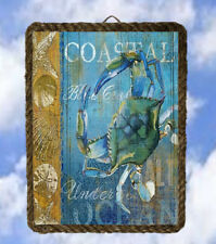 Coastal Ocean 4 Sea Beach Decor Art Prints Blue Crab lalarry Rope Frame Ventage