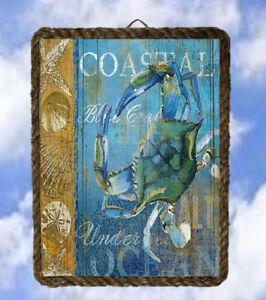 Coastal Ocean 4 Sea Beach Decor Art Prints Blue Crab lalarry Rope Frame Vintage