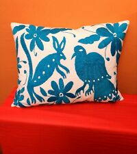 Authentic Mexican Otomi Tenango Animals Hand Embroidered Cushion Turquoise
