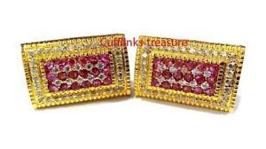 Natural Ruby & CZ Gemstones 925 Sterling Silver Gold Finish Cufflinks For Men's