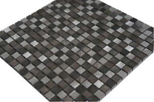 Aluminium Mosaik Fliesen Alu Matte Edelstahl Schwarz Silber Wand, 800M