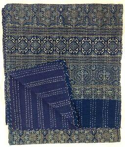 Indian Ajrakh Print Kantha Quilt Patchwork Bedding Bedspread Blanket Queen Throw