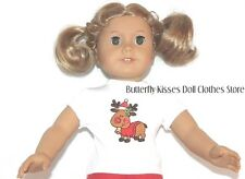 Christmas Reindeer T- Shirt 18 in Doll Clothes Fit American Girl