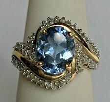 GEMS EN VOGUE YELLOW GOLD 4 CT DIAMOND & TOPAZ COCKTAIL RING. SIZE 6
