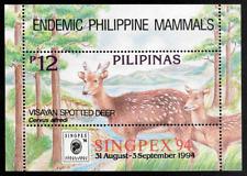 Philippines 1994 Visayan Spotted Deer Souvenir Sheet SINGPEX '94 Overprint - MNH