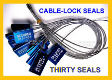CABLE-LOCK SECURITY SEALS, CARGO / TANKER, DARK-BLUE, ALL-METAL, THIRTY SEALS