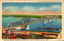 Postcard Municipal Bridge Louisville Ky. and Jeffersonville IN 1936