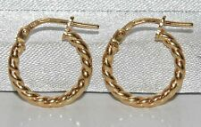 9CT YELLOW GOLD ON SILVER LADIES TWISTED CREOLE HOOP EARRINGS