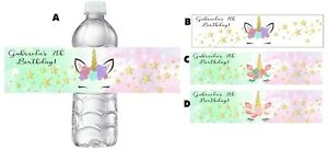 EYELASH UNICORN PERSONALIZED BIRTHDAY PARTY FAVORS WATER BOTTLE LABELS WRAPPERS