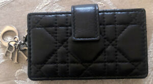 Authentic Christian Dior LADY DIOR 5 GUSSET Card Holder - Lambskin Black/Silver