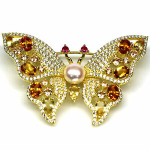 NATURAL WHITE PEARL, CITRINE & RUBY BUTTERFLY BROOCH 925 STERLING SILVER