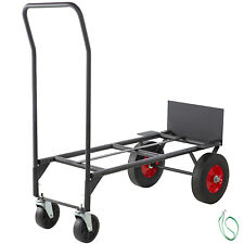 Convertible Hand Cart 200lb/300lb with 10inch Solid Wheels in Black