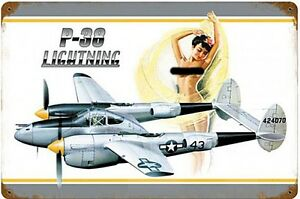 P-38 Lightning Pin Up rusted steel sign 460mm x 300mm (pst 1812)