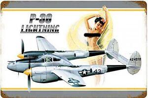 P-38 Lightning Aufstecken Verrostet Stahl Schild 460mm x 300mm ( Pst 1812)
