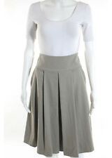 ELIE TAHARI FOR NORDSTROM Beige Wool Pocketed Pleated Front A Line Skirt Sz 8