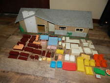 Vintage Litho Tin 16x32 Doll House + LOT of 57 miniature furniture, appliances!