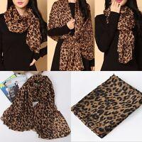 160cm Lady Women Fashion Soft Silk Chiffon Scarf Wrap Shawl Stole Leopard Print