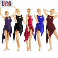 US_Adult Womens Ladies High Low Ballet Leotard Dance Bodysuit Dress Gymnastics