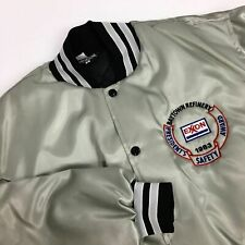 Nos Vtg 80's Men Silver Nylon Satin Coat Quilted 1983 Exxon Gas Refinery Jacket