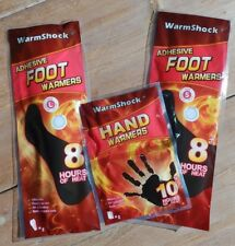 WARMSHOCK THIN ADHESIVE FOOT WARMERS AND/OR HAND WARMERS GIVING 8-10 HRS OF HEAT