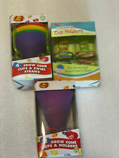 New In Open Box Jelly Belly Back To Basics Snow Cone Accessories Holders Straws