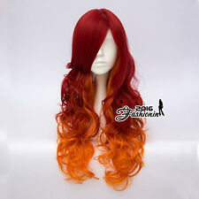 Harajuku 65CM Red & Orange Long Curly Lolita Party Synthetic Cosplay Wig+Cap