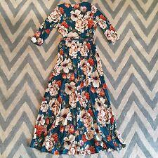 S New Bohemian Women's Teal Floral Prairie 90s Peasant Wrap Maxi Dress Small