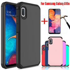 For Samsung Galaxy A10e Shockproof Slim Rubber Hard Case Cover+HD Tempered Glass