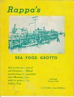 Vintage RAPPA'S SEAFOOD GROTTO Restaurant Menu, Monterey, California