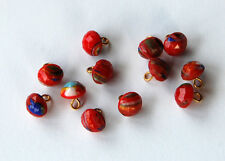 VINTAGE 12 RED & COLORFUL SWIRL STRIPED FUSED GLASS SMALL BUTTONS • 7mm