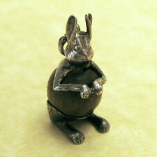 Vintage English Nuvo Touch Wood Bunny Rabbit Good Luck 1960's Sterling Charm