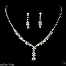 Silver Diamante jewellery necklace set Weddings Bride Prom UK SELLER