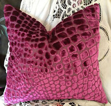 DESIGNERS GUILD NABUCCO VELVET FABRIC MODERN TRENDY CUSHION COVER MAGENTA 20x16""
