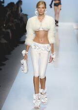 BLUMARINE White Sequin Crop Legging Pants 40 4