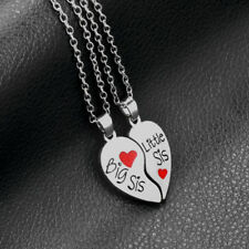 Big/Little Sister Heart silver necklace pendants,Best Christmas gifts for sister