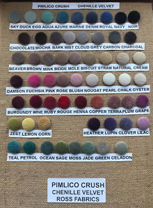 Pimlico Crush Chenille Velvet Fabric Wire Loop Back Upholstery Button Samples x2