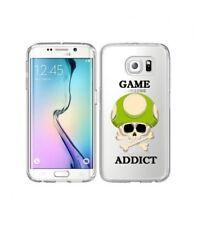 new style 30593 5bd2d Coque Galaxy S7 EDGE game over addict tete de mort vert skull geek retro  transpa