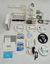 Nintendo Wii White Console Bundle w/  Steering Wheels, Accessories and 18 Games!